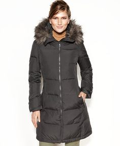 Calvin Klein Hooded Faux-Fur-Trim Quilted Down Puffer Coat