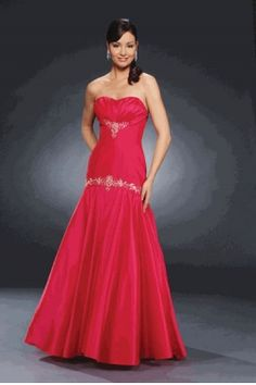 Fuchsia Strapless Floor length Embroider Satin Simple Prom dress