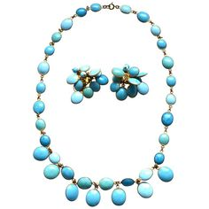 Jacques Fath Couture Turquoise Gripoix Necklace and Earrings. | From a unique collection of vintage more necklaces at https://www.1stdibs.com/jewelry/necklaces/more-necklaces/