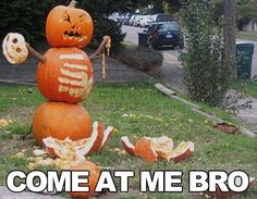 Funny Halloween pumpkin   Come at me bro. Wish my hubs would let me do this!