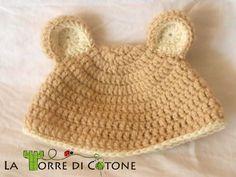 cappelli, crochet, cuffietta neonato, free pattern, uncinetto, cappello animali, cappello orsetto