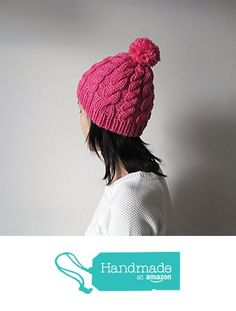 Hand Knitted Cable Chunky Beanie in Fuchsia, Womens Pom Pom Hat, Beanie with Pom Pom, Seamless, Wool Blend, Winter Fall from NaryaBoutique https://www.amazon.com/dp/B01LICF9GS/ref=hnd_sw_r_pi_dp_iEdYzb71X1G5W #handmadeatamazon