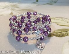 Striking Purple Beads Glass Pearls Memory Wire Ladies Bracelet Handcrafted New