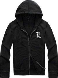 Wish | Death Note,L Logo Zipper Hooded Cardigan Sweater,Stree Fashion Sports Coat,Cool Hoodie Sweater Coat