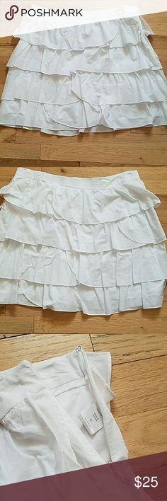 "NYCO Tiered Ruffled Skirt XL Cute Ruffles 18"" waist w/ stretch in back  (see pics) 19"" length Hidden Side Zipper w hook (see pic) New York & Company Skirts Mini"