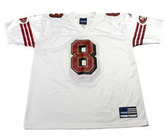 Vintage 90s Adidas San Francisco 49ers #8 Steve Young White NFL Jersey Mens Size Large