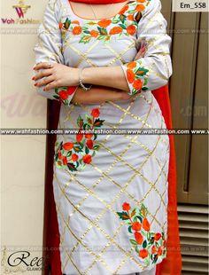 Elegant Gray And orange Embroidered Punjabi Suit Buy Online Punjabi Salwar Suits, Designer Punjabi Suits, Salwar Suits Party Wear, Indian Designer Wear, Embroidery Suits Punjabi, Kurti Embroidery Design, Embroidery Fashion, Hand Embroidery, Ladies Suits Indian