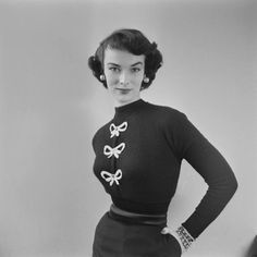 bow adorned vintage sweater image from1952.