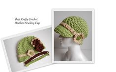 Crochet newsboy cap. Fixed buttons with interchangeable bands and flowers!! www.facebook.com/shescraftycrochet