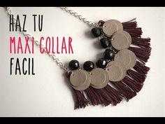 Cómo hacer un collar fácil en casa, (How to make an easy maxi necklace at home) - YouTube