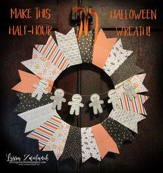Halloween Wreath Stampin Up designer series paper tutorial home decor cookie cutter punch art