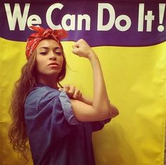 Beyoncé's Instragram depiction of Rosie the Riveter. Sorry beyonce, Rosie the riveter want really a feminist icon Cheap Halloween Costumes, Hallowen Costume, Costume Ideas, Diy Halloween, Beyonce Halloween Costume, Classy Halloween, Halloween College, Creative Costumes, Women Halloween