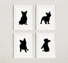 French Bulldog Silhouettes set of 4, Frenchie Sign Wall Art Print, Dog Room Decor, Custom Black Figurines