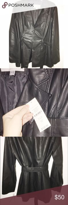 Black Leather Jacket Black leather jacket with tags. Never worn. Warm yet lightweight. Jackets & Coats