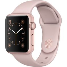 Apple Watch Rose Gold Aluminum Case with Pink Sand Sport Band ($269) ❤ liked on Polyvore featuring jewelry, watches, tech, sports wrist watch, sand jewelry, sport jewelry, rose gold watches and sport watches