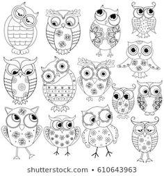 Doodle Art, Doodle Drawings, Owl Doodle, Owl Patterns, Embroidery Patterns, Owl Outline, Owl Cartoon, Owl Crafts, Owl Art
