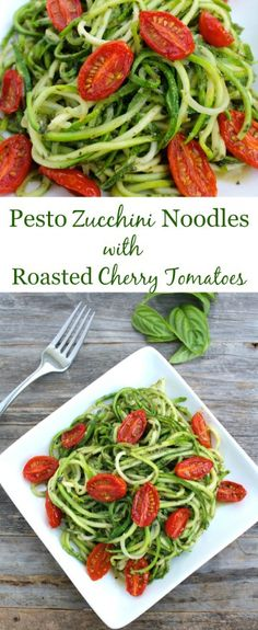 Pesto Zucchini Noodles with Roasted Tomatoes are going to be your new favorite meal. Healthy, simple & full of fresh ingredients - they're delicious!