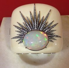 Sylvia Fermanovich antique opal and ivory cuff