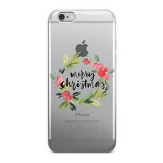 Merry Christmas Watercolor Holiday Wreath iPhone Case