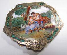 800 Silver & Enamel Italian Signed Fallaci Romantic Couple Engraved Compact