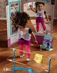 Gabriela's Creative Studio Set  There's nothing Gabriela likes more than to dance, create, and dream in the studio at her beloved community center. Includes: A metal dance barre that's perfect for practicing moves from her trusty ballet board  • A water bottle to keep her hydrated  • A reversible backdrop with the interior and exterior of the studio on either side  • A soft yellow towel with an embroidered graphic. $58
