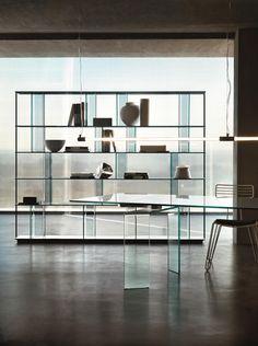 Inori, the system with curved glass elements – FIAM Italia Shelving Design, Bookshelf Design, Shelving Systems, Modern Shelving, Glass Bookshelves, Modular Bookshelves, Bookcase, Cabinet Furniture, Furniture Design