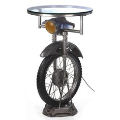 Scooter Motorcycle Lamp and Glass Table Wheel Recycled Art By Smithers Side Table Lamps, End Tables, Coffee Tables, Quirky Bars In London, Custom Classic Cars, Mud House, Usb Lamp, Metal Hose, Creative Lamps