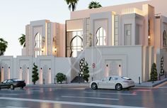 Modern architectural forms juxtaposed with traditional Islamic ones create a modern Arabic villa architectural design that seamlessly balances old with new. Classic House Design, Modern Villa Design, Modern Apartment Design, Futuristic Architecture, Architecture Design, Architecture Today, Facade Design, Exterior Design, Geometric Decor