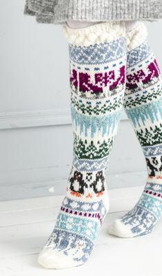 Merja Ojanperän We love winter embroidery socks Diy Crochet And Knitting, Knitting Charts, Knitting Socks, Baby Knitting, Knitting Patterns, Knitted Christmas Stockings, Christmas Knitting, Fair Isle Knitting, Wool Socks