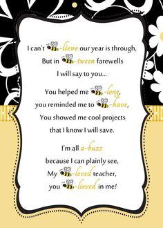 Teacher Appreciation Week Discover Bee-Teacher-Letter-by-ReneesSoirees Bee Teacher Gifts, Teacher Treats, Teacher Thank You, Bee Gifts, Teacher Stuff, Teacher Appreciation Letter, Letter To Teacher, Volunteer Appreciation, Little Presents