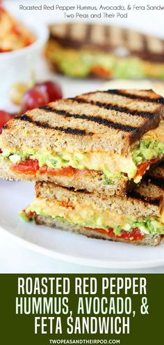 This vegetarian Roasted Red Pepper Hummus Avocado & Feta sandwich has all of my favorite flavors-roasted red peppers hummus avocado and feta cheese! Its easy to make and great for a quick lunch or dinner! More back to school Hummus Sandwich, Veggie Sandwich, Sandwiches For Lunch, Vegetarian Sandwiches, Vegetarian Roast, Easy Vegetarian Lunch, Vegetarian Recipes, Quick Lunch Recipes, Quick Healthy Lunch