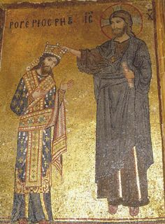 Roger II, Norman King of Sicily enthroned by Christ, Palermo, mid 12th century.