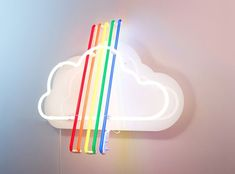 omg i want to have this light fixture! Neon Clouds and Rainbow by Gemma Tickle Rainbow Aesthetic, Neon Aesthetic, Rainbow Connection, Over The Rainbow, Rainbow Cloud, Neon Rainbow, Rainbow Light, Rainbow Dash, Rainbow Brite