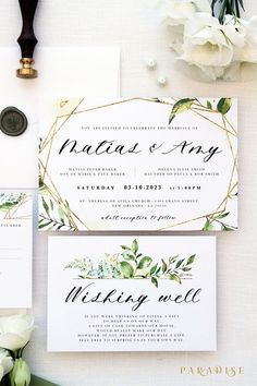 Amy Gold and Watercolour Green Wedding Invitation Sets, Printable Wedding Invitations or Printed Invitations with Belly Bands, Green Leaves Printable Wedding Invitations, Invitation Set, Floral Wedding Invitations, Wedding Stationary, Trendy Wedding, Rustic Wedding, Green Wedding, Spring Wedding, Gold Wedding