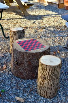 DIY Treestump Checkerboard