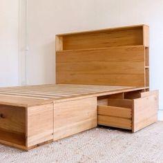 Al and Imo Custom Timber Furniture Timber Bed Frames, Oak Bed Frame, Timber Beds, Scandi Bedside Table, Bedside Table Design, Timber Furniture, Custom Furniture, Diy Storage Headboard, Minimalist Bed Frame