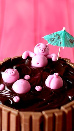 Mud Bath Cake A rich, perfectly moist chocolate mud cake is made that much better with Kit Kats and piggies on top!A rich, perfectly moist chocolate mud cake is made that much better with Kit Kats and piggies on top! Köstliche Desserts, Delicious Desserts, Yummy Food, High Protein Desserts, Tasty, Crazy Cakes, Baking Recipes, Cake Recipes, Dessert Recipes