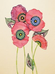 Pink Poppies - Buttermoths, via Etsy.