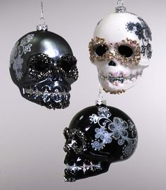 Glass Skull Ornament Black White  Catherine`s collection