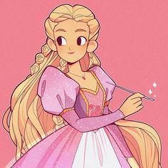 Barbie as Rapunzel with her magical paintbrush Disney Kunst, Disney Art, Disney Movies, Disney Characters, Punk Disney, Disney Tangled, Disney Drawings, Cool Drawings, Barbie Swan Lake