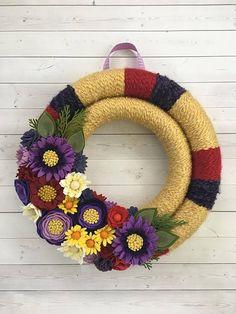 red, yellow, purple wreath