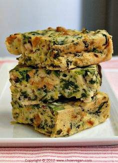 vegan: savory spinach and mushroom brownies/quiche...