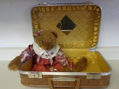 Vintage Travel Carry-On Hardcase Suitcase with Teddy Bear - http://oleantravel.com/vintage-travel-carry-on-hardcase-suitcase-with-teddy-bear