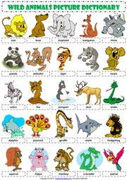 Wild Animals Vocabulary ESL Worksheets