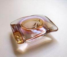 Vintage retro mid century pink and amber heavy hand blown glass trinket dish