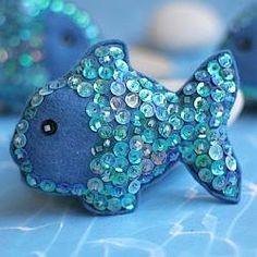 SELAH- Use felt to sew these fish and then stitch on sequins to give them lots of sparkle.