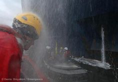 27 August - activists get sprayed with water cannons by Gazprom workers  Stand with the protesters: savethearctic.org