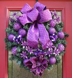 Spread the purple dust everywhere and enjoy a magical Christmas. Just for this occasion, we chose for you festive collection of Stunning Purple Christmas Decor Ideas For A Royal Celebration. Holiday Wreaths, Mesh Wreaths, Holiday Crafts, All Things Christmas, Christmas Time, Christmas Ornaments, Coastal Christmas, Christmas Tables, Silver Christmas