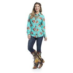 Wrangler Quincy Collection Women's Turquoise Print Button Down Long Sleeve Shirt