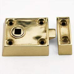 Small Solid Brass Rim Latch Set with Brown Porcelain Knobs - Right Hand - Polished Brass